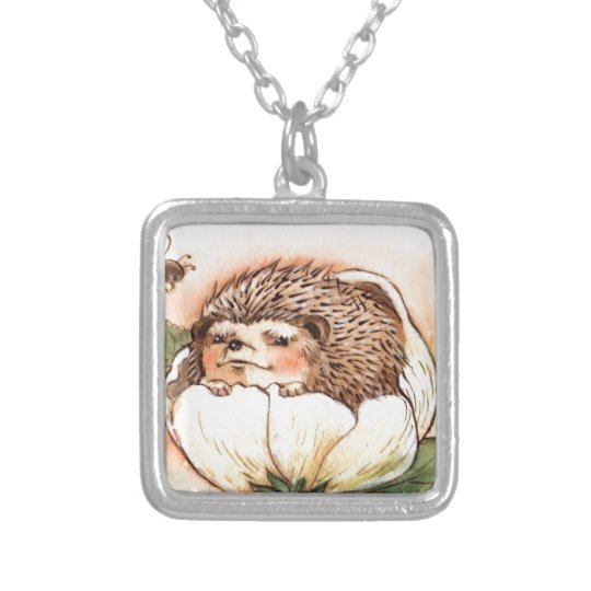 Hedgehog Flower Baby Watercolor Silver Plated Necklace