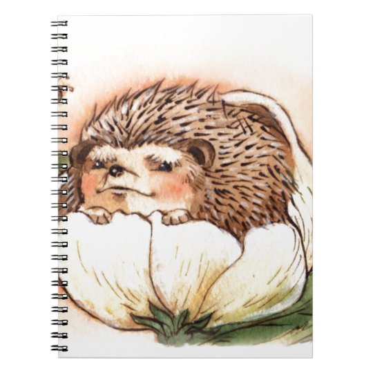Hedgehog Flower Baby Watercolor Spiral Note Books