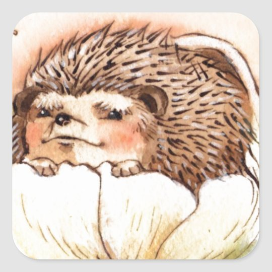 Hedgehog Flower Baby Watercolor Square Sticker