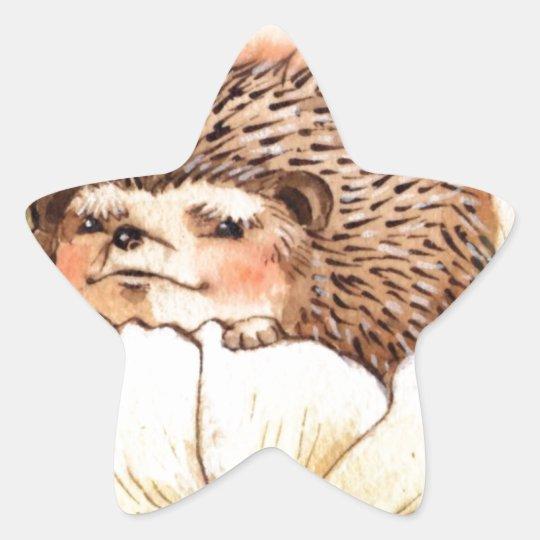 Hedgehog Flower Baby Watercolor Star Sticker