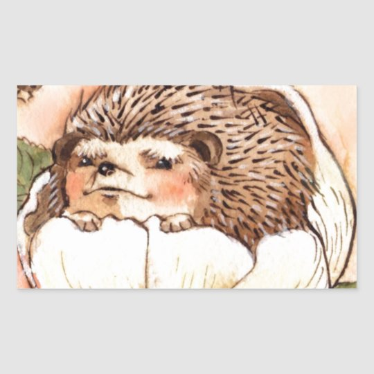 Hedgehog Flower Baby Watercolor Sticker