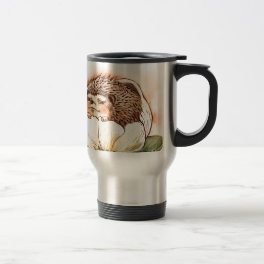 Hedgehog Flower Baby Watercolor Travel Mug