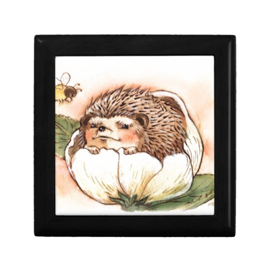 Hedgehog Flower Baby Watercolor Trinket Boxes