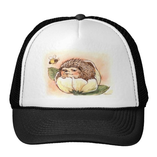 Hedgehog Flower Baby Watercolor Trucker Hat