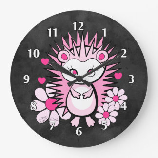 Hedgehog Girly Cute Pink Wallclock