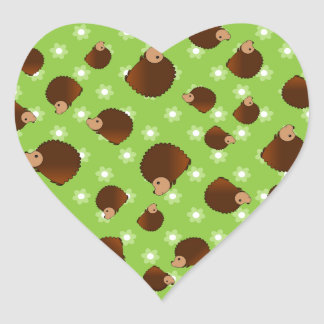 Hedgehog green flowers heart sticker