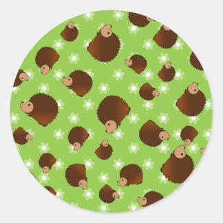 Hedgehog green flowers round sticker