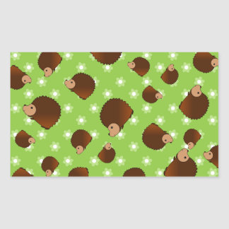 Hedgehog green flowers rectangle stickers