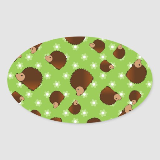 Hedgehog green flowers oval stickers