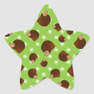 Hedgehog green flowers star sticker