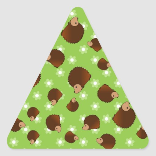 Hedgehog green flowers triangle stickers