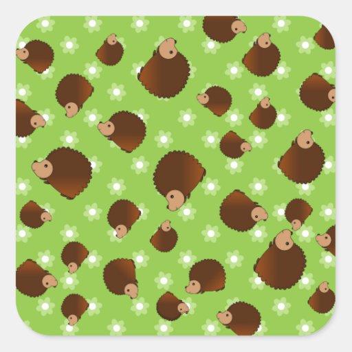 Hedgehog green flowers sticker