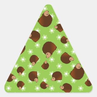 Hedgehog green flowers triangle sticker