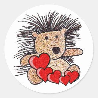 Hedgehog Hearts Classic Round Sticker