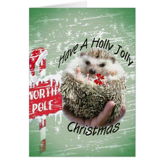 Hedgehog holly jolly xmas card