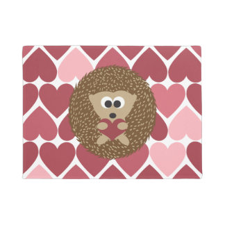 Hedgehog Hugging a Heart with a Heart  background Doormat
