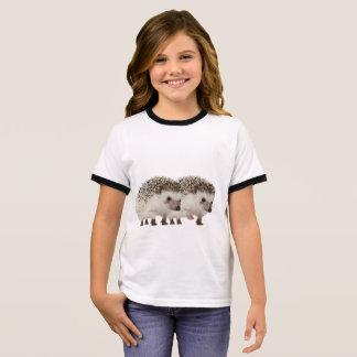 Hedgehog image  Girl's Ringer T-Shirt, White/Black Ringer T-Shirt