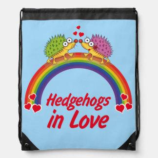 Hedgehog in love drawstring bag
