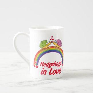 Hedgehog in love tea cup