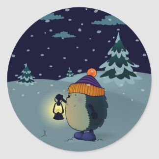Hedgehog in the night classic round sticker
