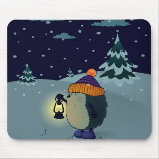 Hedgehog Jan in the Winter night Mouse Pad