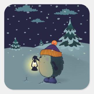 Hedgehog Jan in the winter night Square Sticker