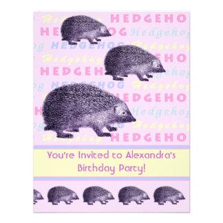 Hedgehog Little Girl s Birthday Party Invitation