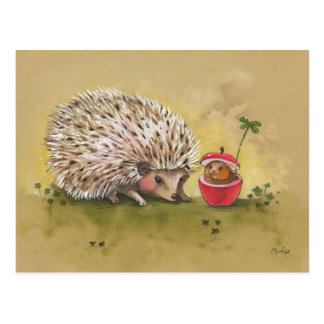 Hedgehog Lucky Clover Afternoon Postcard
