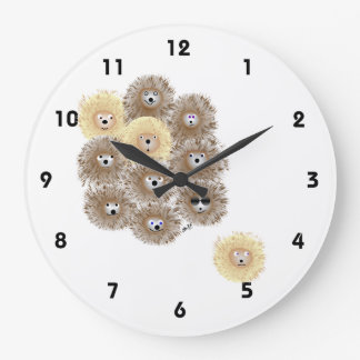 Hedgehog Party Large Clock