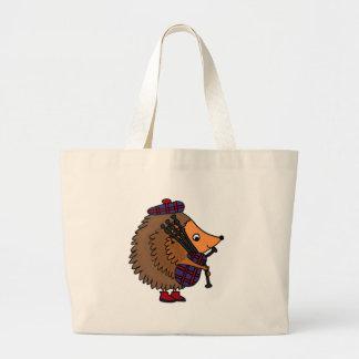 Hedgehog Playing Bagpipes Large Tote Bag