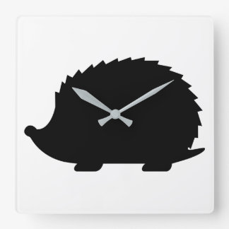 Hedgehog Silhouette Square Wall Clock