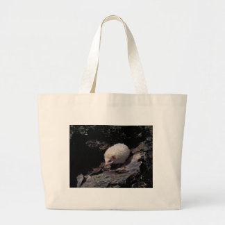 Hedgehog taking a stroll large tote bag