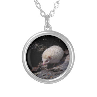 Hedgehog taking a stroll silver plated necklace