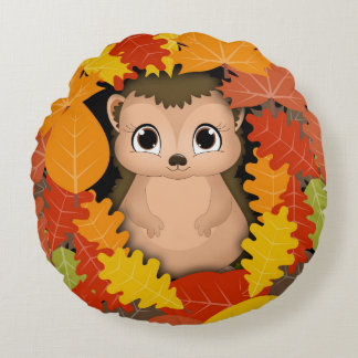 "Hedgehog Thanks Polyester Round Throw Pillow (16"")"
