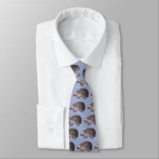 Hedgehog Tie - Blue with Repeated Word Hedgehog