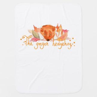 Hedgehog watercolor baby blanket