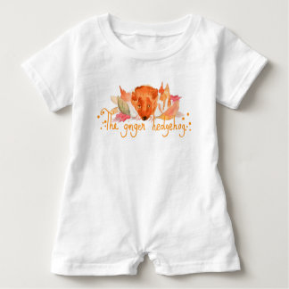 hedgehog watercolor Baby Romper