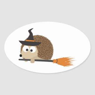 Hedgehog Witch Oval Sticker