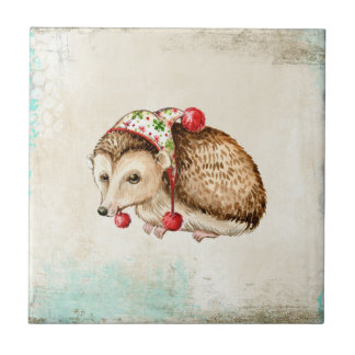 Hedgehog with a cute funny hat ceramic tiles
