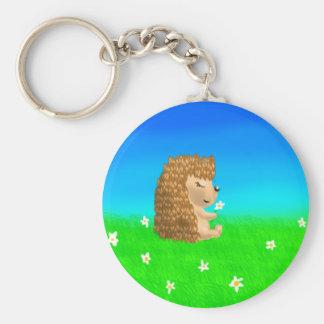 hedgehog with flower keychain