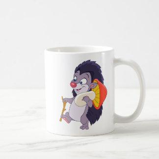 Hedgehog with mushroom coffee mug