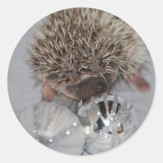 Hedgehog with Ornaments Round Sticker