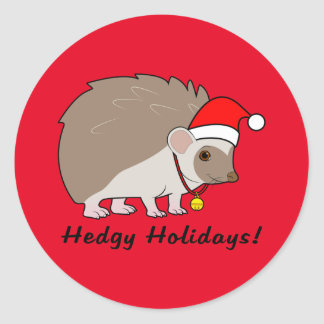 Hedgehog with Santa Hat: Hedgy Holidays: Classic Round Sticker