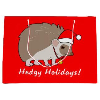Hedgehog with Santa Hat: Hedgy Holidays: Large Gift Bag