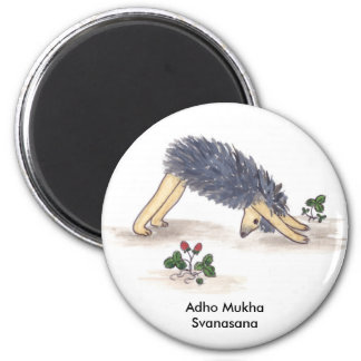 Hedgehog Yoga, Downdog (with Text) Magnet