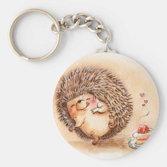 Hedgehog YUM! Basic Round Button Keychain