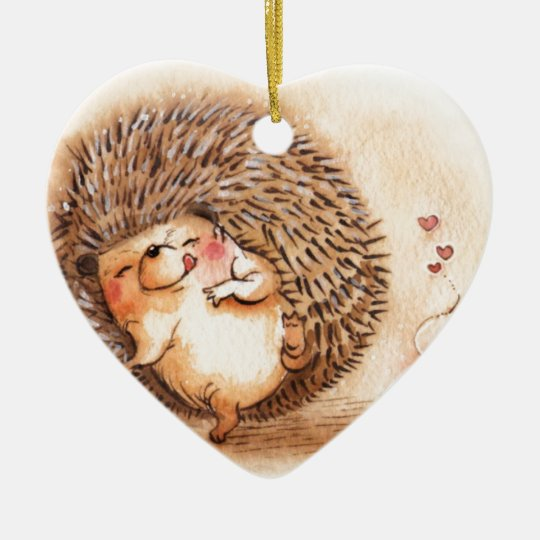Hedgehog YUM! Ceramic Heart Ornament