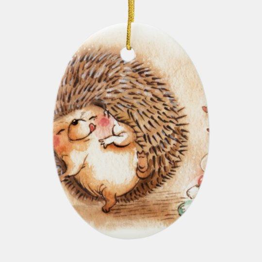 Hedgehog YUM! Ceramic Oval Ornament