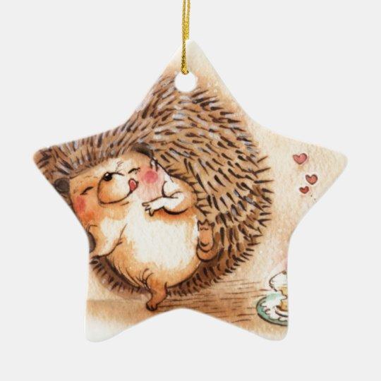Hedgehog YUM! Ceramic Star Ornament