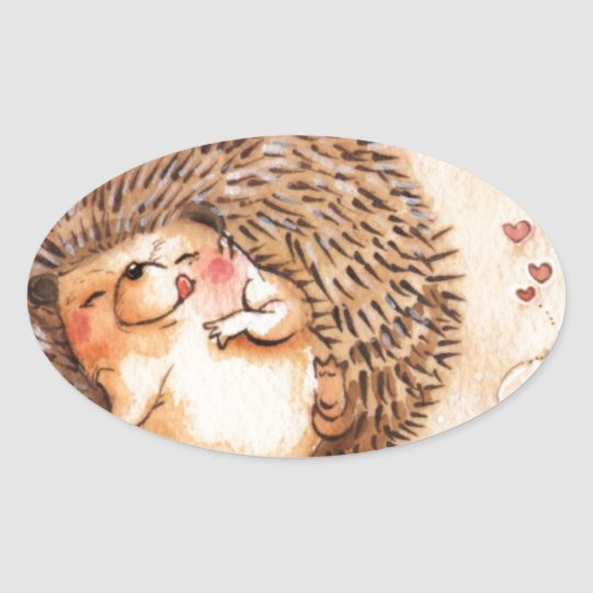 Hedgehog YUM! Oval Sticker
